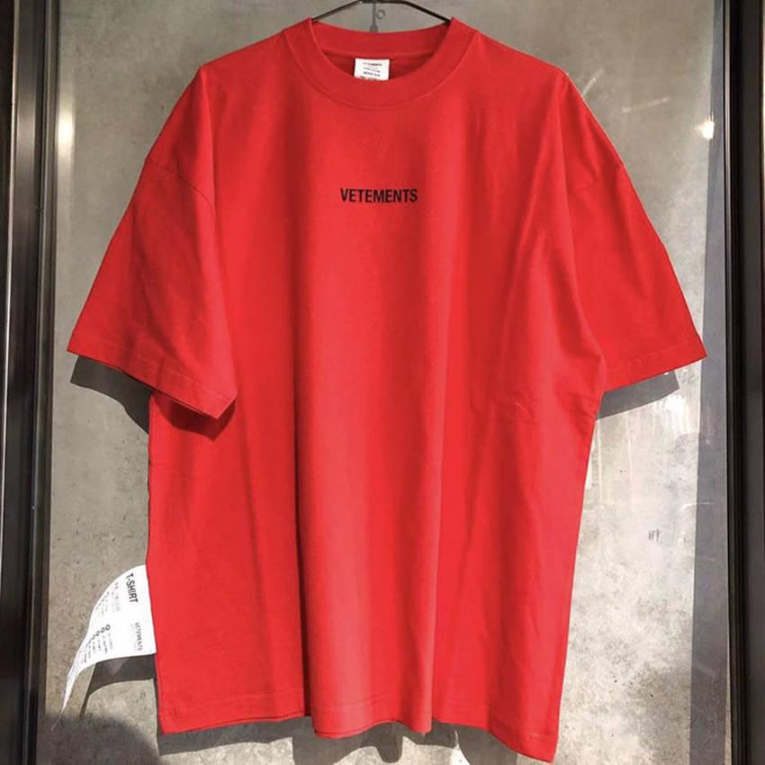 2019 Vetements T Shirt Men Women 1:1 High Quality Red Black Big Tag Vetements Tees Fashion Vetements T-shirts