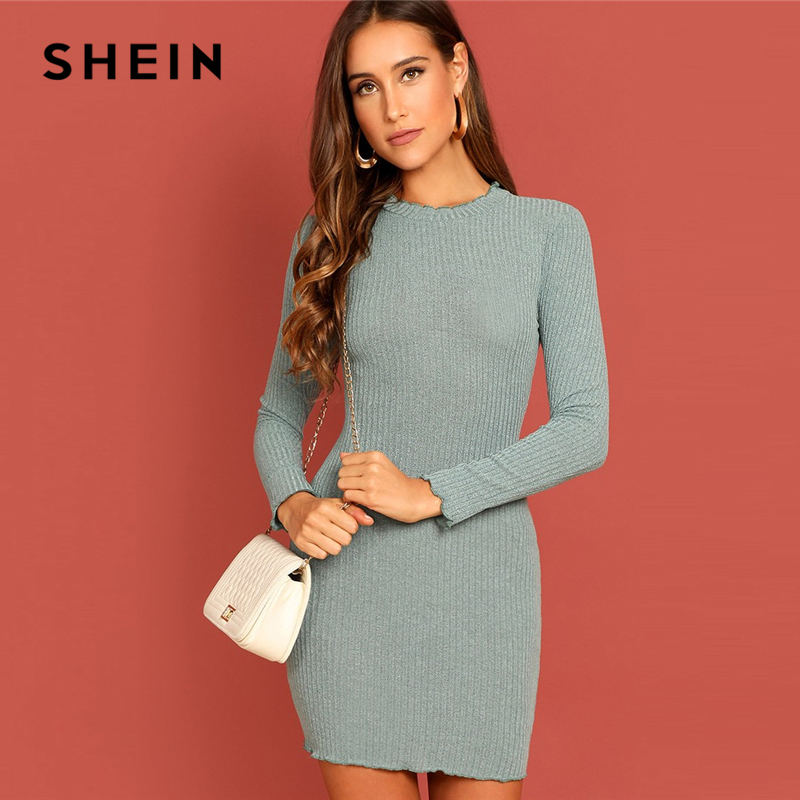 SHEIN Green Elegant Office Lady Solid Lettuce Trim Rib Knit Long Sleeve Skinny Short Dress Autumn Women Workwear Dresses