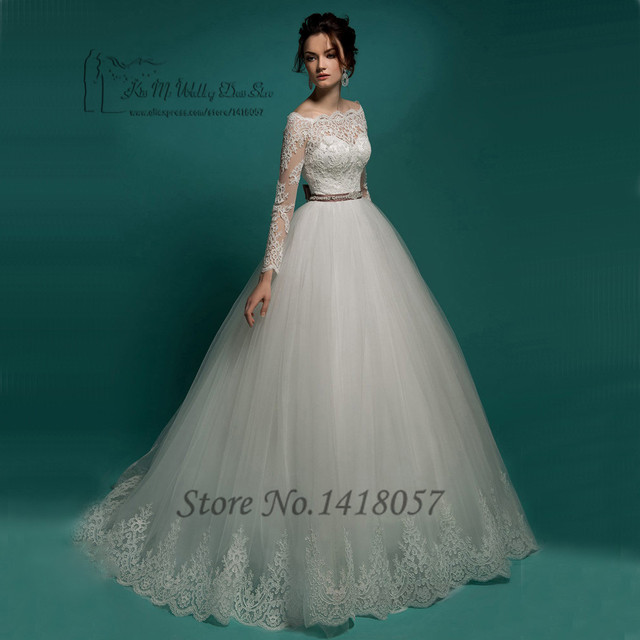 Latest Design Vintage Lace Wedding Dress Long Sleeve Ball Gown