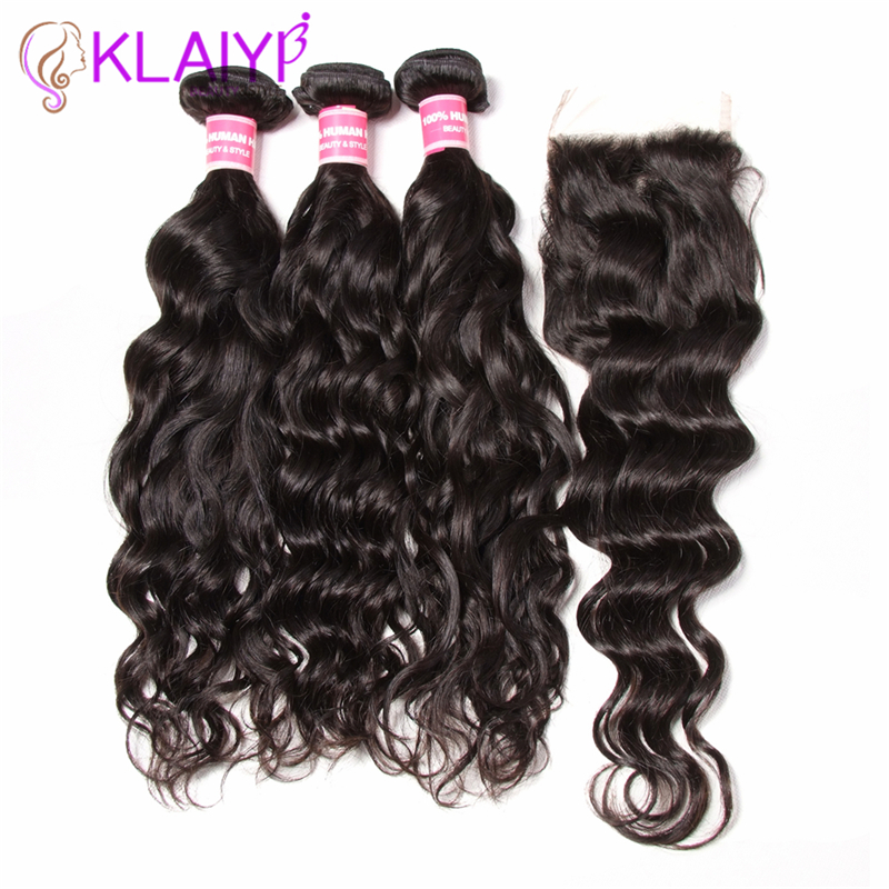 Klaiyi Hair Brazilian Natural Wave Lace Closure Free Part 4 PCS Human Hair Bundles With Closure
