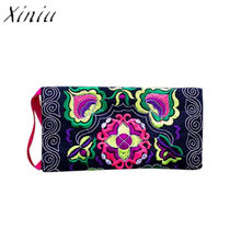 Stylish Vintage Purse Wallet Ethnic Handmade Embroidered Wristlet Clutch Bag 2019 New High Quality Women Handbag Clutch Carteira(China)
