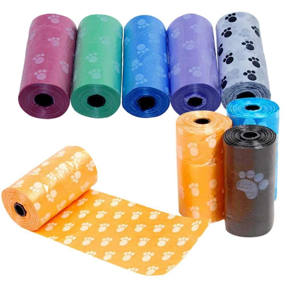 15 Pcs/Rolls Dog Pet Waste Poop Bag Com Impressão Doggy Bag Pick Up Sacos Pooper Pet Fornecimentos Aleatória cor Atacado