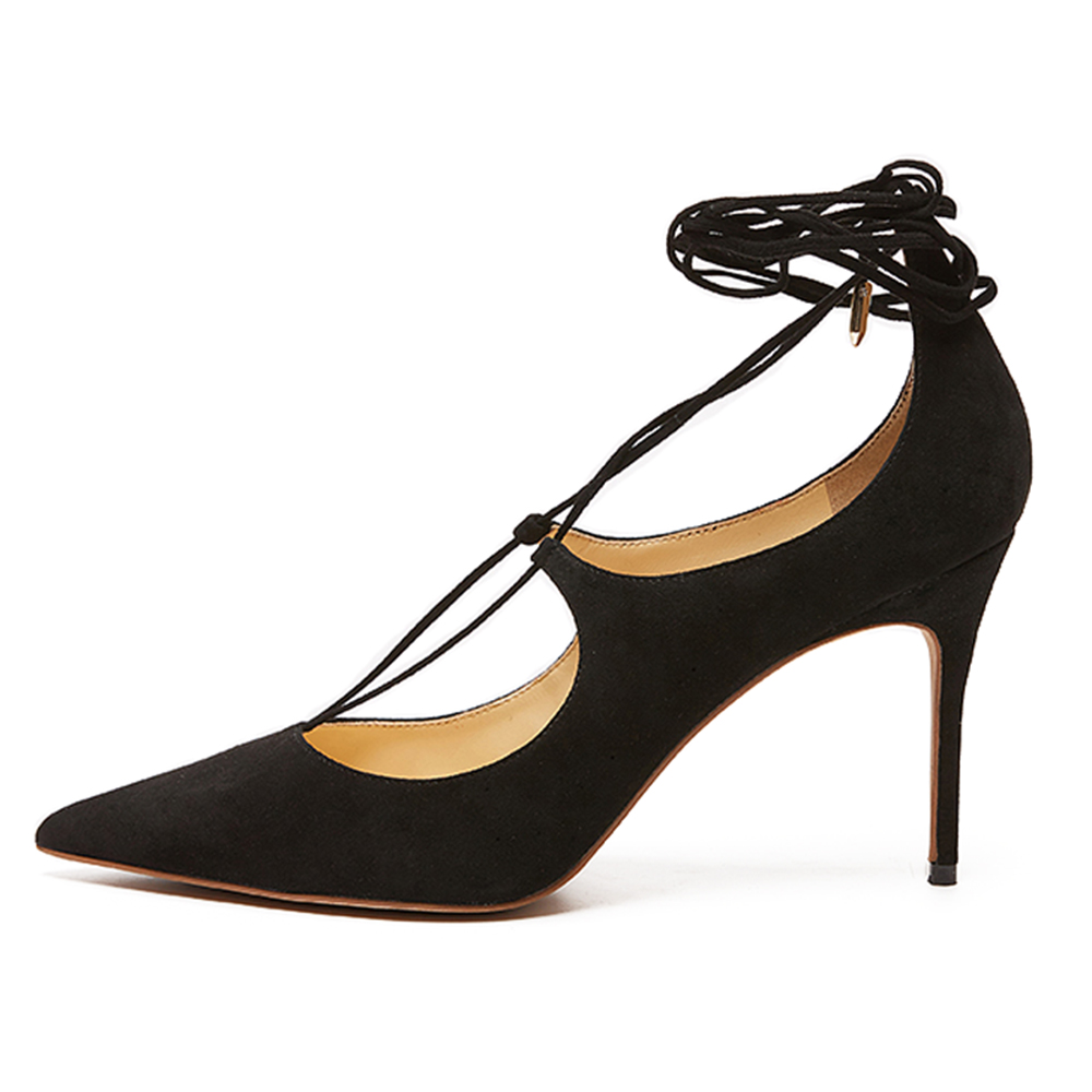 ФОТО Inisastyle 2016 New Fashion high heel women's shoes stiletto pointed toe ladies pumps T-tied solid sandals big size4-15