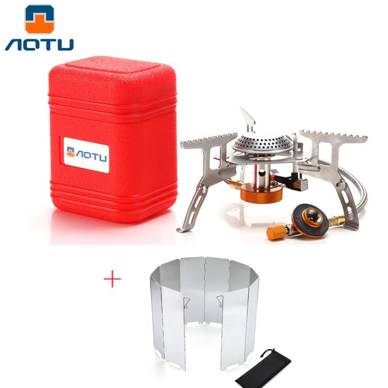 New Outdoor Gas Stove Folding Electronic Stove Hiking Camping Gas Burners Portable Split Stoves+ 10 Plate Wind Screen Windshield