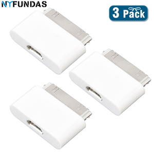 NYFundas 3pcs MicroUSB to Male 30-pin Converter charger adapter for Apple iphone 4 4s 3 3GS ipad 1 2 3 ipod iphone4s micro usb(China)