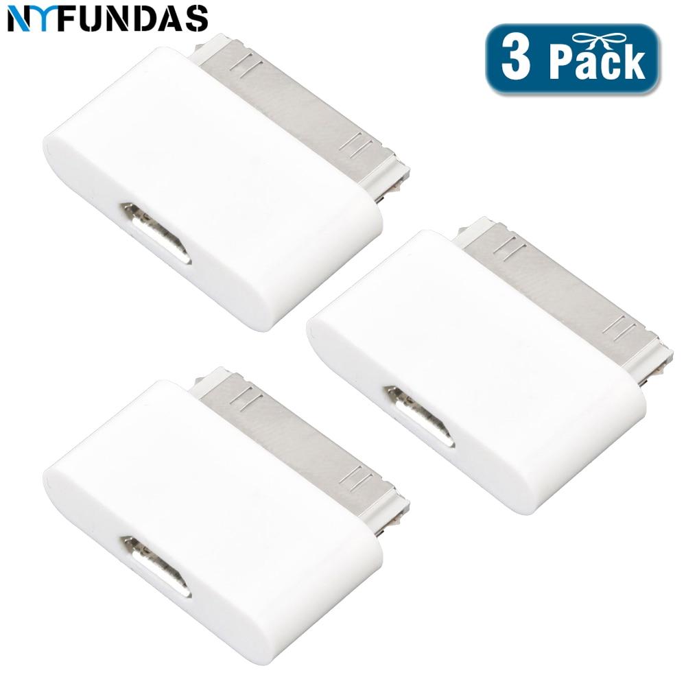 Nyfundas 3 pces microusb para macho 30 pinos conversor carregador adaptador para apple iphone 4 4s 3 3gs ipad 1 2 3 ipod iphone 4S micro usb