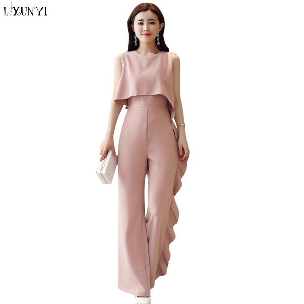 LXUNYI Summer Jumpsuit Women Elegant Jumpsuit Romper Trousers Ruffles Spliced Sleeveless Overalls Slim Long Jumpsuits Ladies