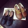 Женщины симпатичные ретро искусственная кожа обувь zapatos де mujer леди случайные коричневый круглые обувь головные женские прохладно весной и летом обувь