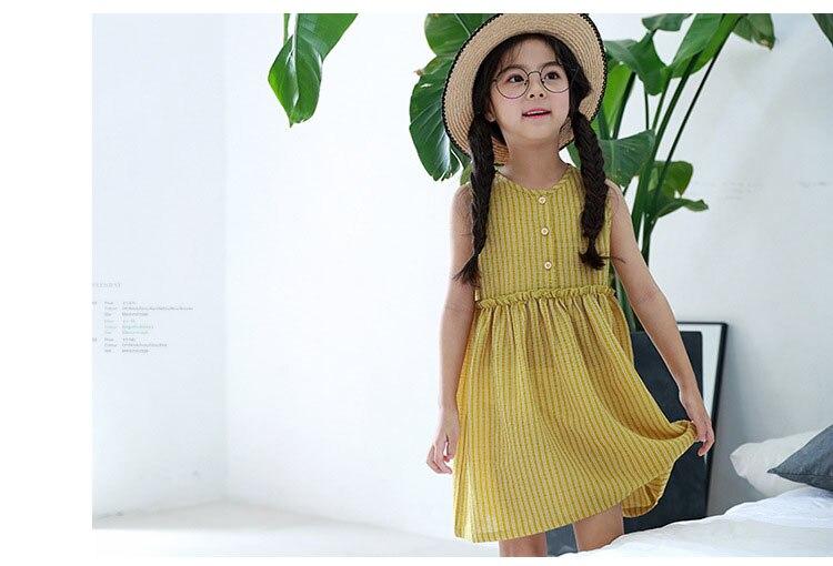 80efc161ec61 kids baby girls sleeveless dresses summer 2018 with button princess little teenage  girls dress yellow striped ...