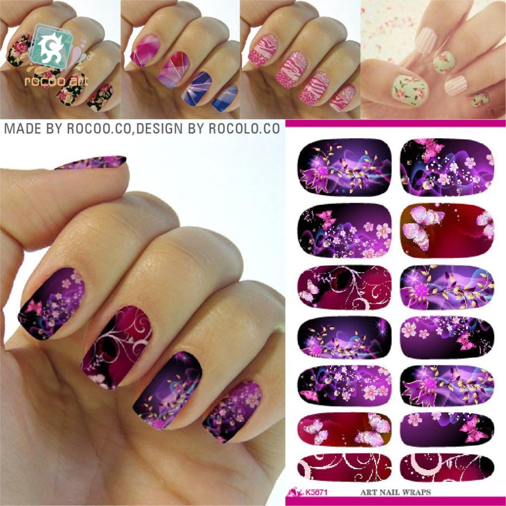 K5671 Newest Water Transfer Nail Foil Sticker Art Sexy Flirtatious Purple Shine Flowers Nail Wraps Sticker Manicure Decals