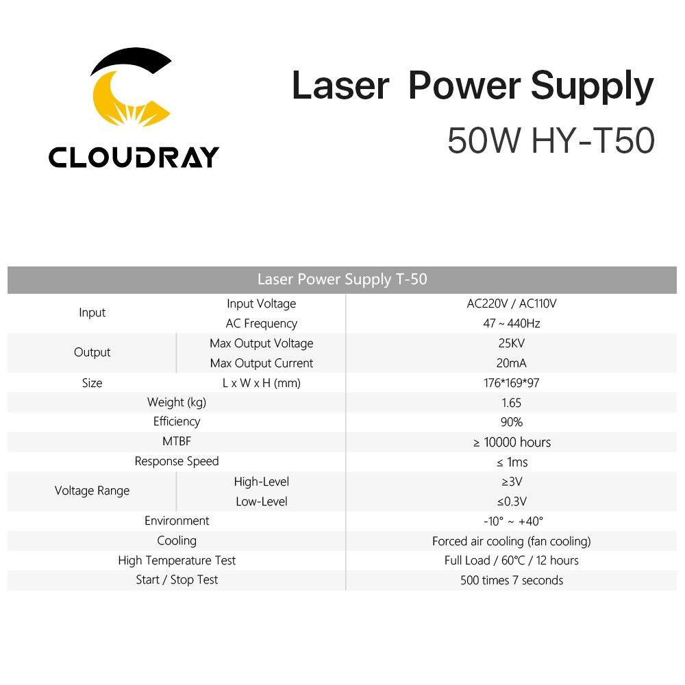 """""""Cloudray"""" 50 W CO2 lazerio maitinimo šaltinis, skirtas CO2 - Medienos apdirbimo mašinų dalys - Nuotrauka 5"""