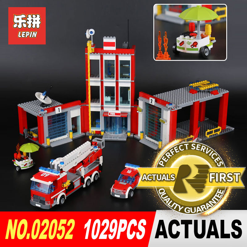 Lepin 02052 1029Pcs Genuine City Series The Fire Set Building Blocks Bricks Educational DIY Toy Model for Children gifts 60110 a toy a dream lepin 02043 718pcs building blocks bricks new genuine city series airport terminal toys for children gifts