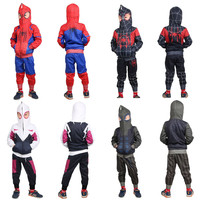 4 color Boys cosplay Spider man Sport Suit Kids 3 10Years Clothes Set 2Pcs Spiderman Boy's Hooded Sweater + Pant Boys Tracksuit