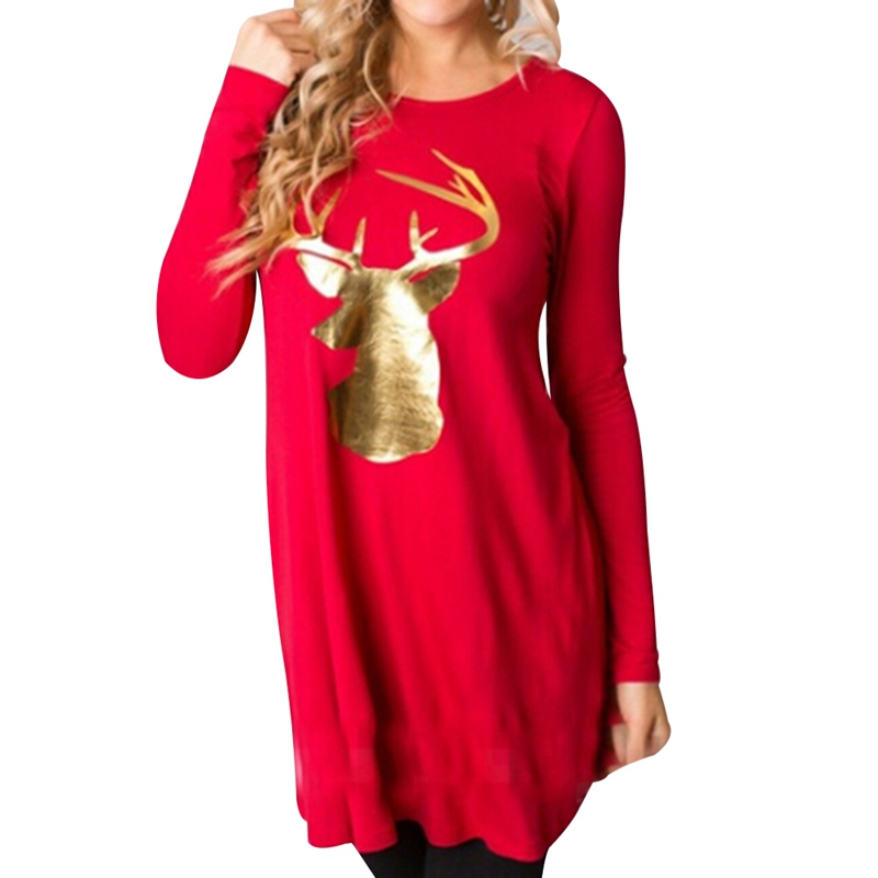 2018 New Arrival Spring Autumn Chrismas Red hoodies Women Harajuku Long Sleeve Merry Christmas Fawn Printed T-Shirt For party