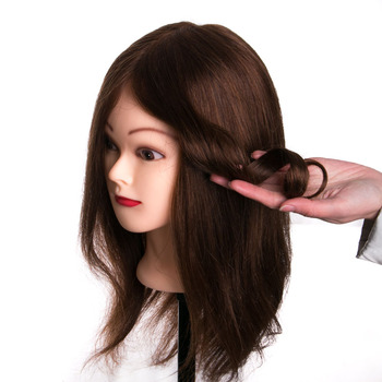 100% real human hair head dolls for hairdressers   training head professional Mannequin +clamp 100% real human hair head dolls for hairdressers 16 brown training head professional mannequin with small clamp can be curled