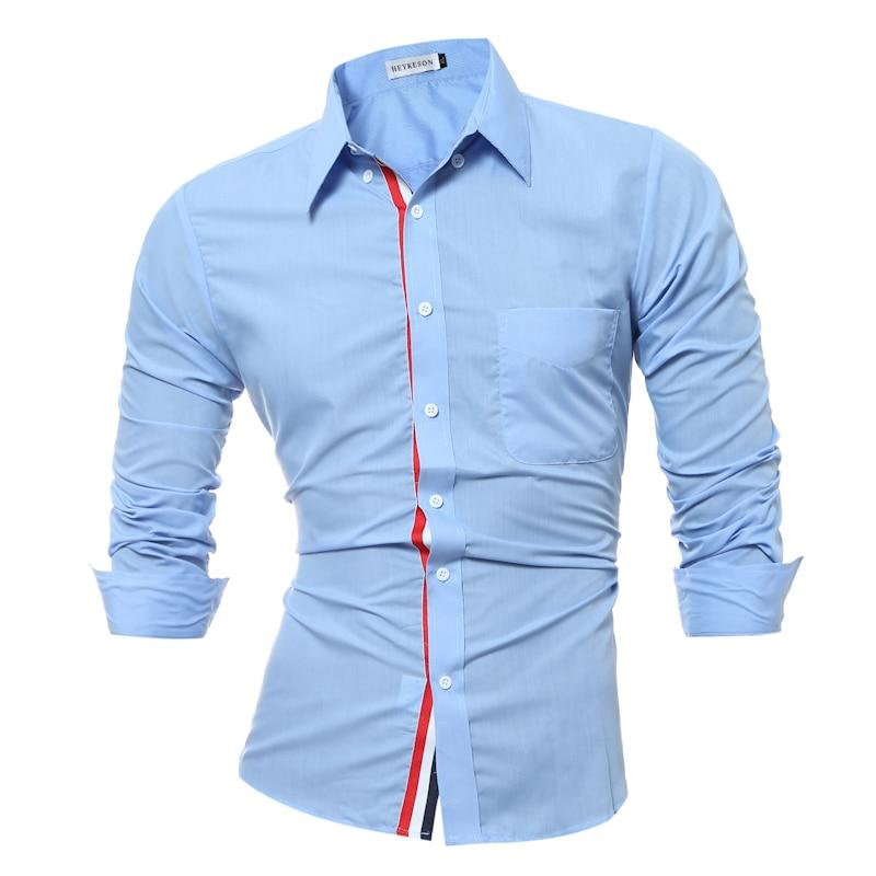 Бренд 2018 г. модные мужские рубашки с длинными рукавами Топы  корректирующие одноцветное Цвет Высокое качество Мужская одежда Рубашки для  мальчиков тонкий ... 966b57d1e1f
