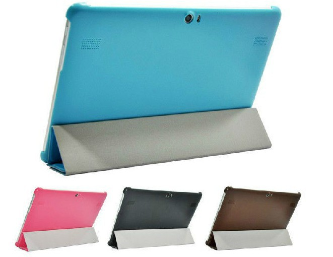 5 color 4 Folded Ultra Slim Leather Case Stand Back Hard Cover For Huawei MediaPad 10 FHD / Link+1 pcs screen flim
