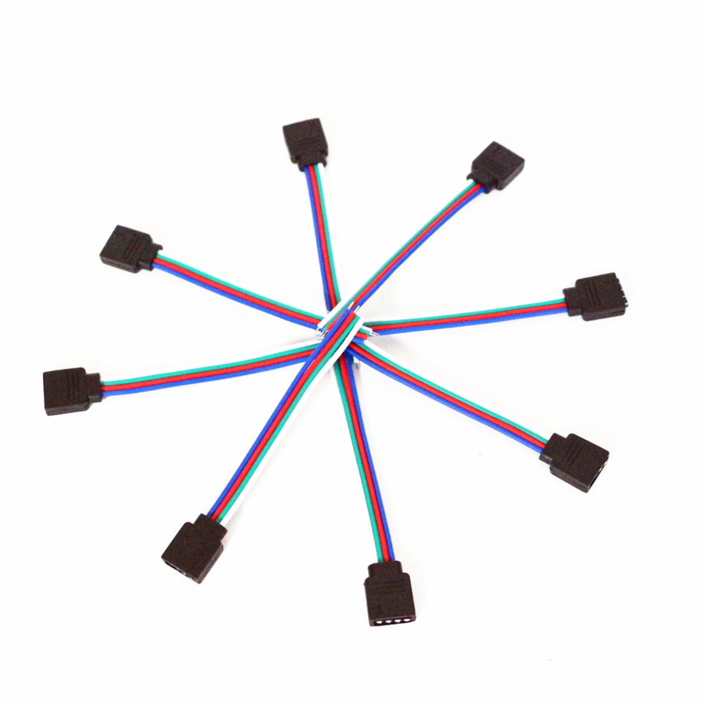 10pcs Lot 10cm 4 Pin Rgb Led Ribbon Female Connector Wire For 5050 Wiring Strips In Parallel 3528 2835 Strip 4pin Cable Controller Connectors From Lights