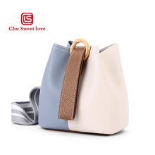 2019 new color matching handbags fashion trend Korean version of the bucket bag ultra light leather shoulder bag women s new korean version of the color fashion leather shoulder bag trend women s new version of the color leather fashion shou