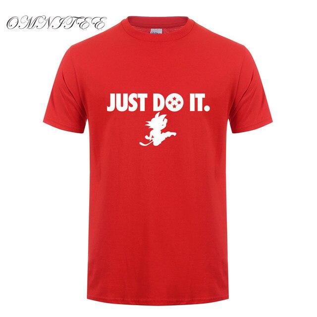 Omnitee Summer Anime Dragon Ball Z T Shirts Men Short Sleeve Fashion Cotton Just Do Son Goku T-Shirt Cartoon Shirt  OT-440