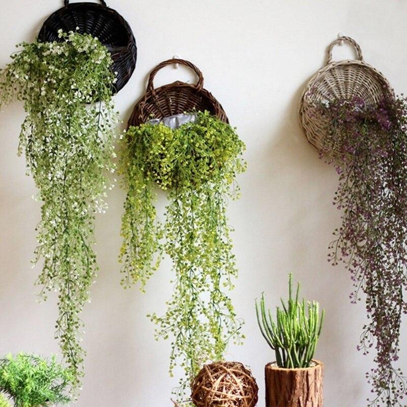 Tenture murale en osier naturel tissé fleur panier planteur rotin Vase panier maison jardin mur décoration stockage conteneur
