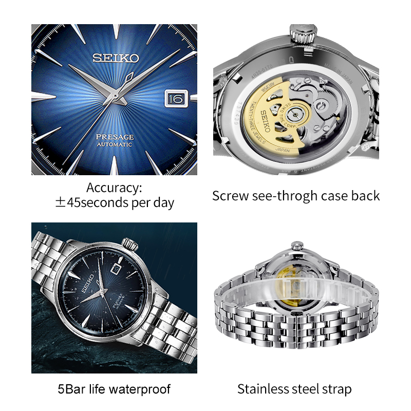 US $399 0 |100% Original Seiko Business Men's Watch Automatic Movement  Wristwatches Stainless Steel 5Bar Water Resistance Global Warranty-in