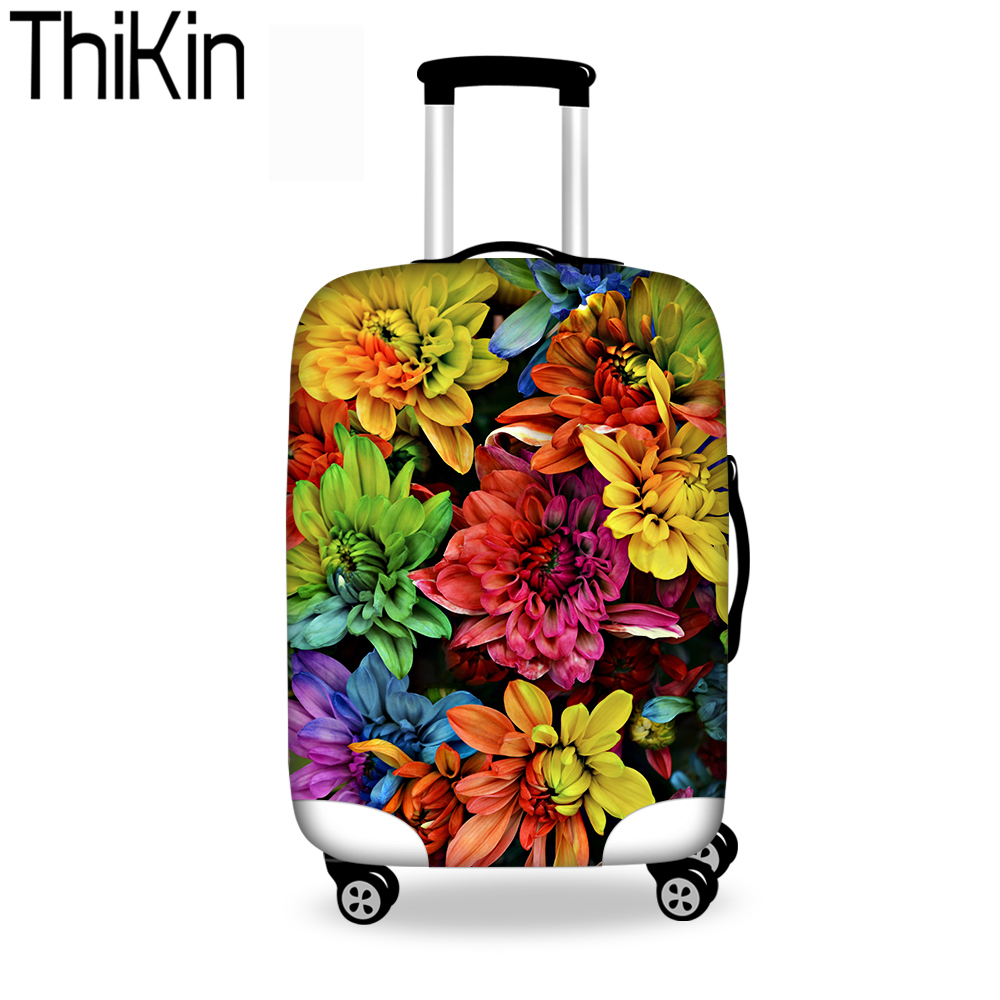THIKIN Luggage Protective Cover Bright Rose Cover For 18-30 Inch Trolley Suitcase Elastic Bags Women Covers Travel Accessories