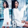 Autumn New Women long sleeve casual MINI dress 2017 fashion vintage O-Neck party A-line office white shirt dress vestidos tops