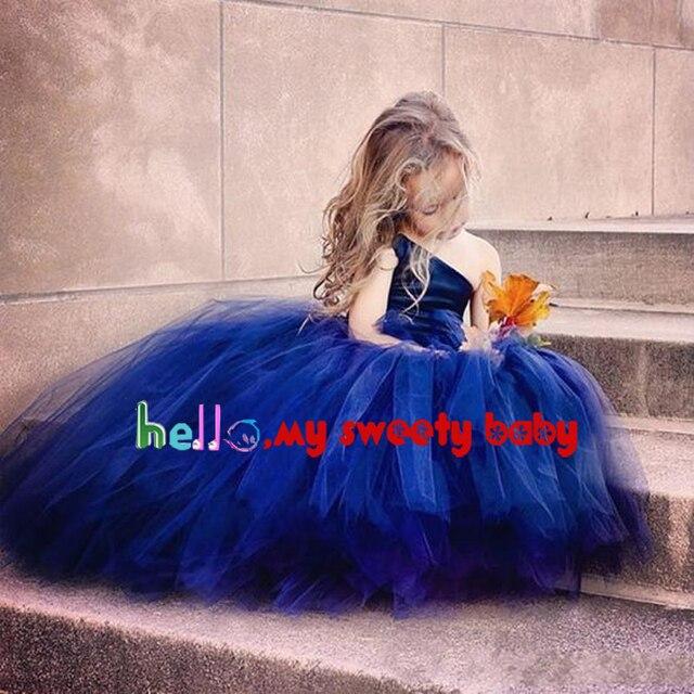 Cheap Royal Blue Little Girls Party Dresses One Shoulder Satin Tulle 2017 Ball Gown Floor Length Little Flower Girls Dresses 2017