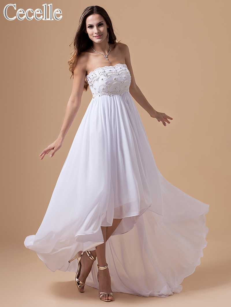 Us 118 36 8 Off 2019 Summer White Chiffon Maternity Beach Wedding Dresses High Low Sweetheart Empire Beaded Bridal Gowns For Pregnant Women In