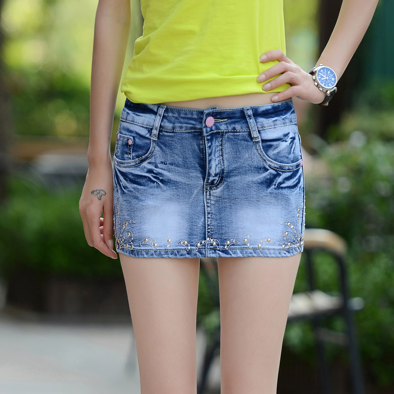 QA530 2017 New bead slim cotton springy denim   shorts   skirts exquisite embroidery lacing jeans   shorts