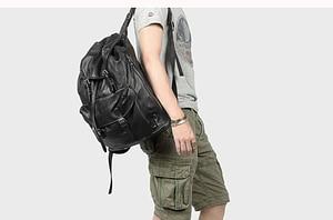Image 5 - Miękki czarny skórzany męski plecak na laptopa o dużej pojemności Retro męskie plecaki turystyczne wierzchnia warstwa skóry wołowej mężczyzna tornister na co dzień