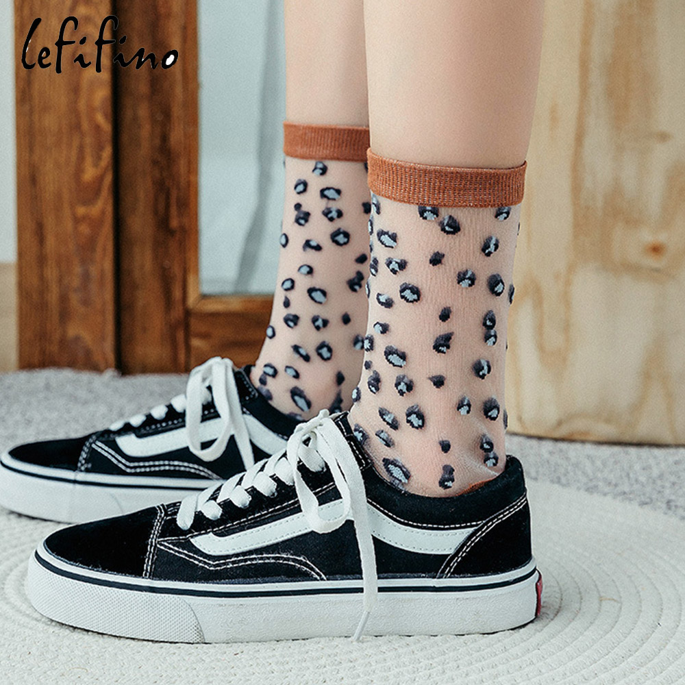 Leopard Transparent Women Ultra-thin Silk Socks Cool Breathable Tulle Sheer Short Ladies Socks Summer New Elegant Elastic Socks