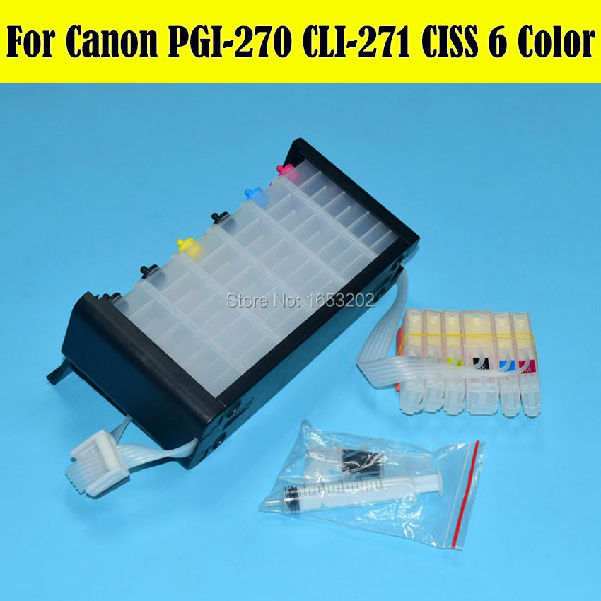6 Color Empty Ciss System For Canon For Canon PIMXA MG7720 Printer Ciss With PGI-270 CLI-271 271GY ARC Chip 5 color ciss system for canon pgi 550xl cli 551xl pgi550 cli551 550 for canon mg5450 ip7250 7250 printer with arc chip