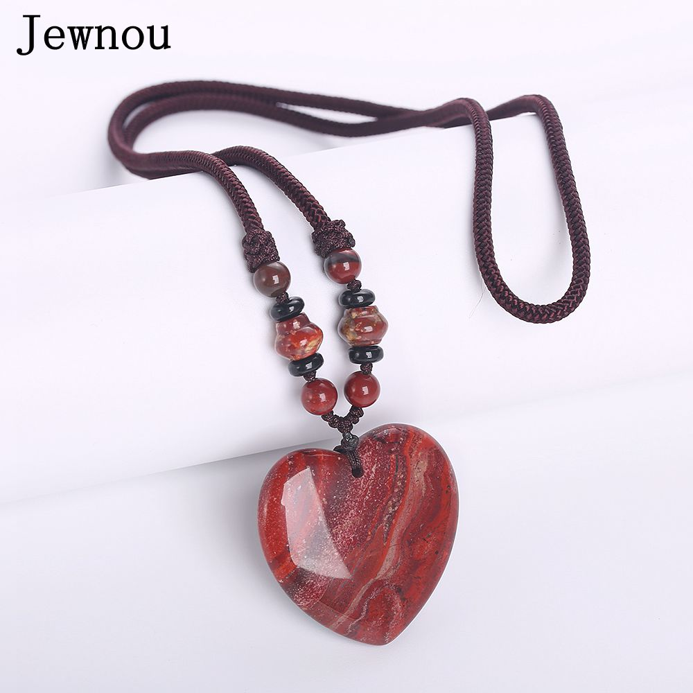 Jewnou Red Jasper Power Necklace Women Jewelry Natural Stone Gift Accessories Rhinestone Choker Direction Chain Kingdom Hearts