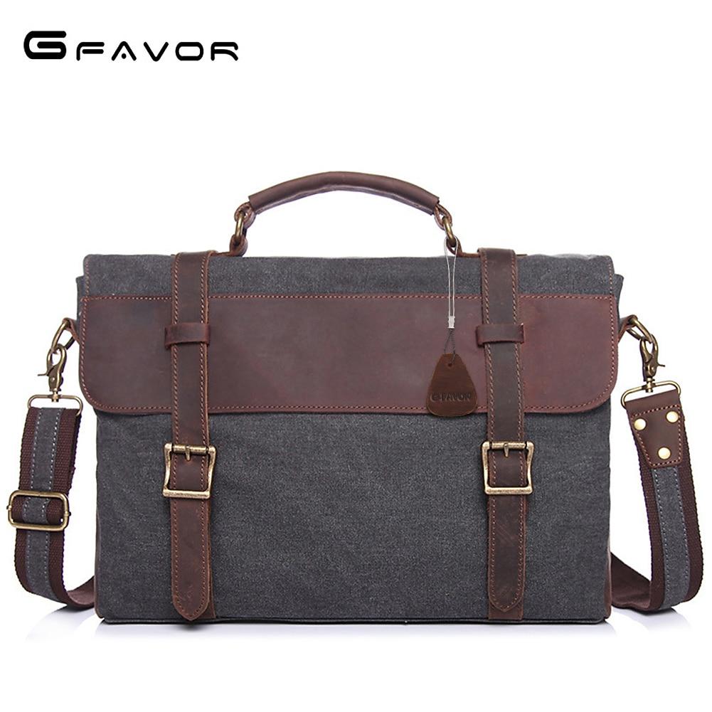 G-FAVOR лоскутное портфели для мужчин Crazy Horse кожа и Холст Винтаж компьютер сумки бизнес сумка Мужской чехол для ноутбука