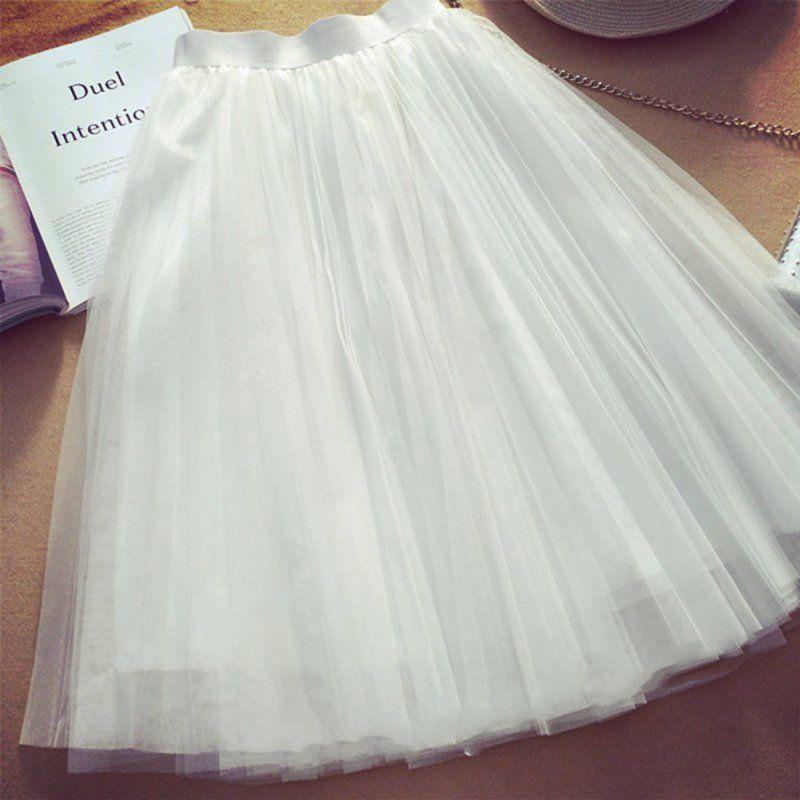 Tulle Skirts Womens 2018 Summer Black Gray White Elastic High Waist Pleated Tutu Skirt Female Midi Mesh Skirt