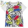 Мальчик футболки девочка бренд рубашки дети майка Детские мальчик и дети письмо печати с коротким рукавом топы ЛЕТНИЕ ОБРАЗЦЫ нагрудники ребенка