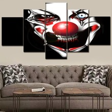 Home Decorative Modular Posters Framework Wall Art Pictures 5 Piece Creepy Scary Dark Clown Painting Top-Rated Canvas Print top posters холст весь лондон iii top posters 50х100х2см l 1013h