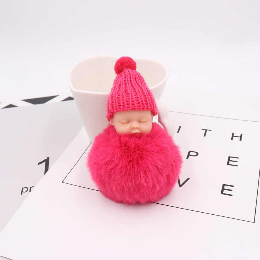 Corrente Chave Da Boneca bonito Do Sono Do Bebê Bola de Lã Com Cores Doces Novo Acessório de Moda Presentes para Mulheres Crianças
