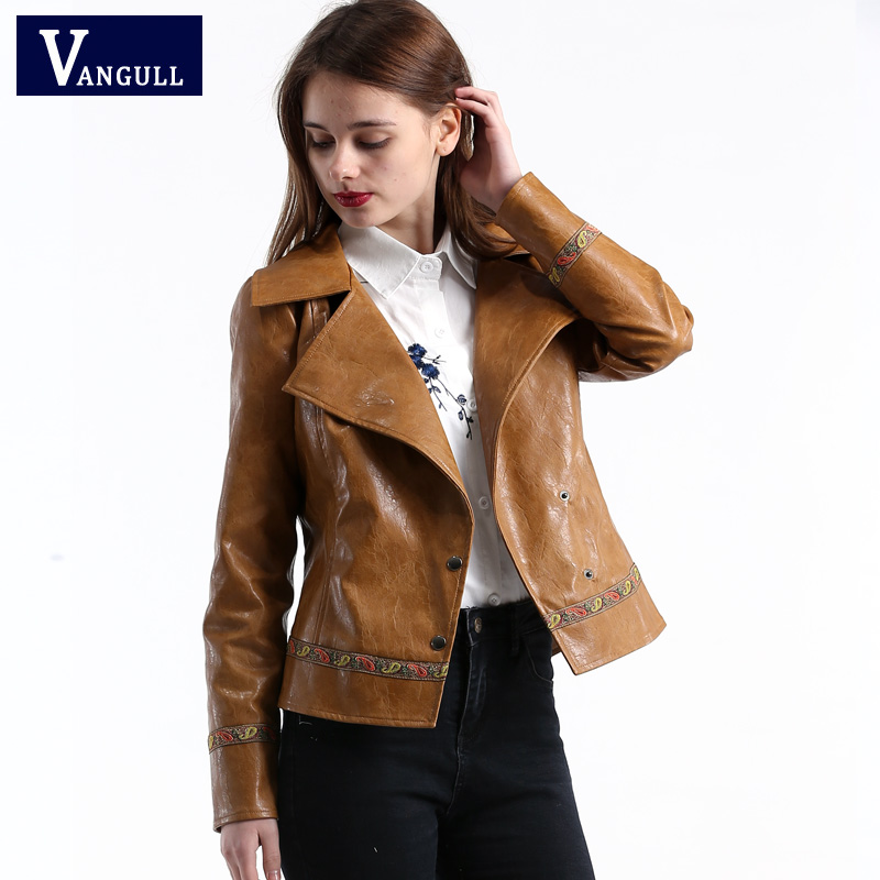 Vangull 2018 New Casual Embroidery faux leather coat Girl Motorcycle leather jacket women Fashion cool outerwear Street jackets