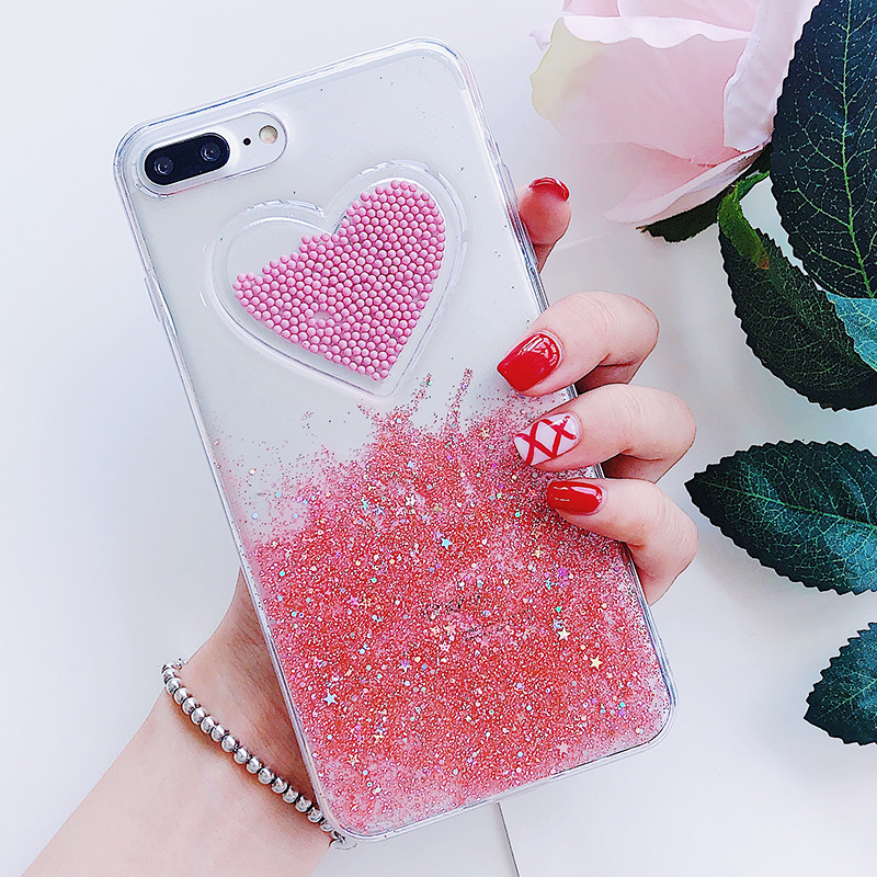 Liquid Glitter Case For iPhone 7 8 6 Plus X Cases Fo iPhone 6S Case Lovely Heart Quicksand Dynamic Clear Cover For iphone 8 Case (8)
