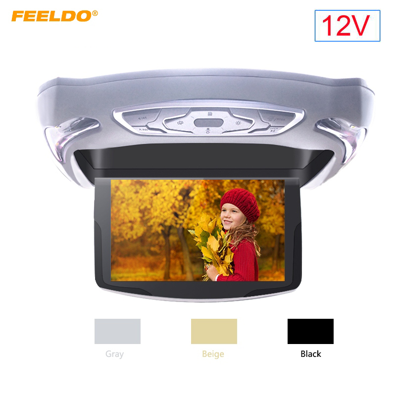 FEELDO DC12V 10.1 Inch Car Roof Mounted DVD Player Digital LCD TFT Monitor Celling Flip Down HDMI DVD USB FM TV Game IR Remote 9 inch car headrest dvd player pillow universal digital screen zipper car monitor usb fm tv game ir remote free two headphones