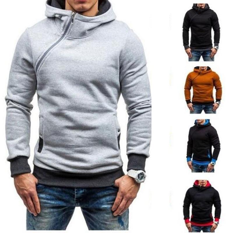 New Men Autumn Hooded Sweatshirt Fleece Hoodies Male Diagonal Zipper Fitness Hoody Pullovers Plus Size Poleron Hombre