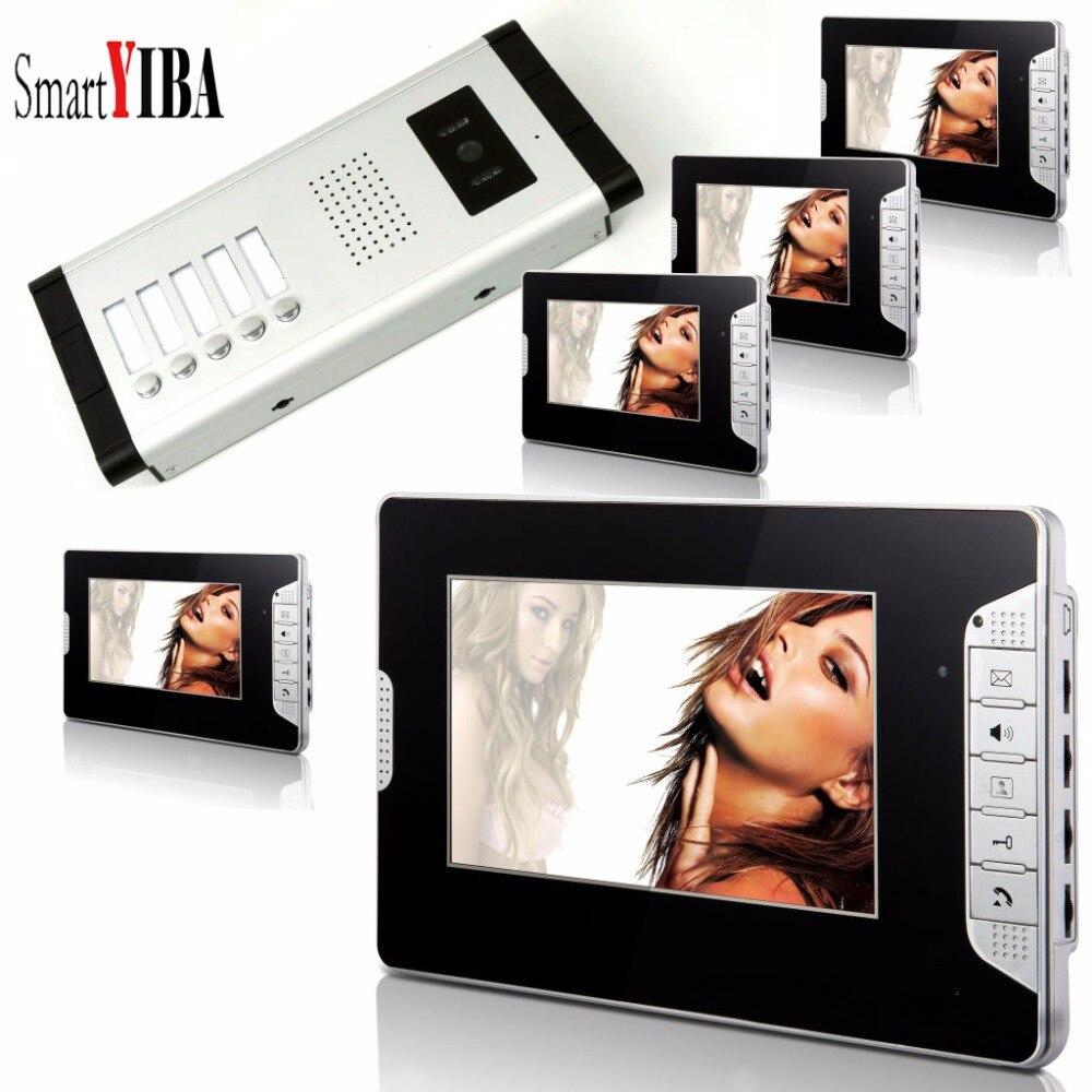 SmartYIBA 7 Inch Monitor Video Intercom Doorbell Indoor Door Visual Phone System Outdoor Security Doorbell 1 Camera 5 Monitor