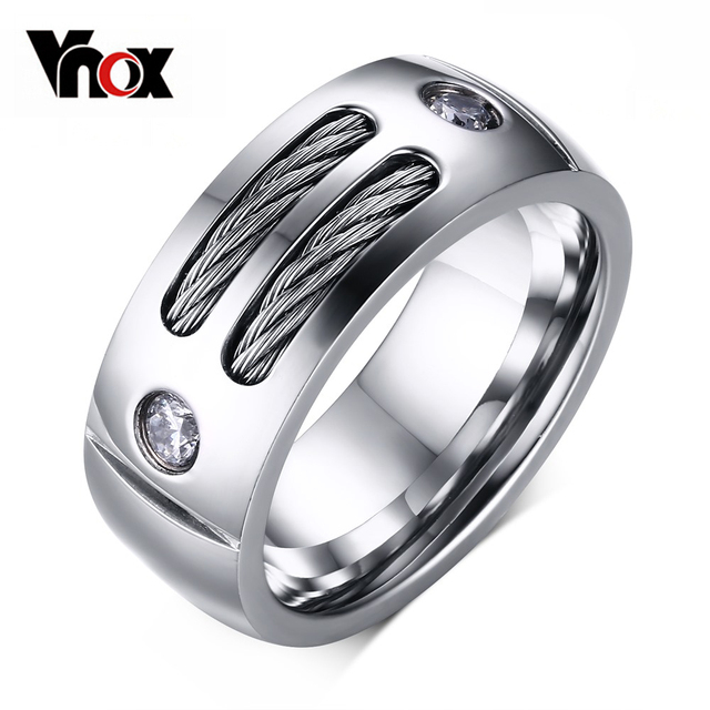 Vnox Men's Ring Stainless Steel Punk Rock Ring With Wire Cubic Zirconia Party Je