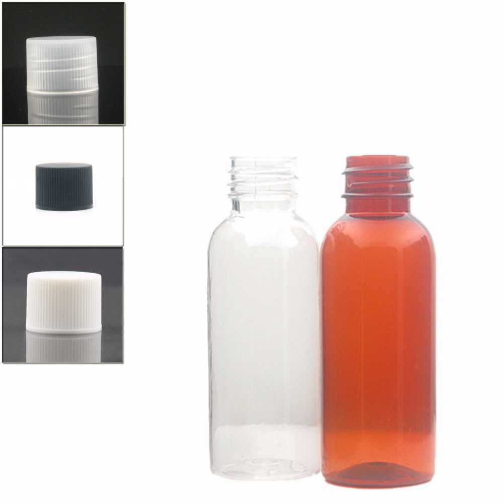 30ml okrągłe puste butelki plastikowe, przezroczysty/bursztynowa butelka pet z przezroczysty/biały/czarny seler przykręcana pokrywa x 10