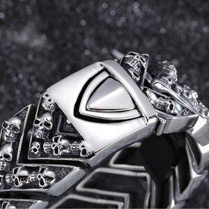 Image 4 - 25MM Wide Heavy Mens Bracelets 2020 Punk Rocker Mens Skul Bracelet For Men Homme Jewelry Stainless Steel Wrap Bracelet Bangles