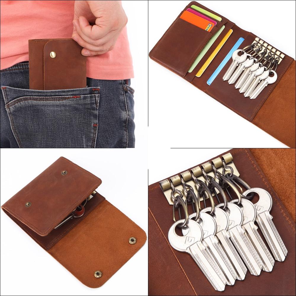 Closeout DealsÏMISFITS Key Keychain Wallet Organizer Genuine-Leather Card-Holder Car-Key-Covers Women