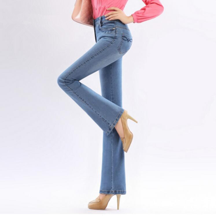 Women High Waist Flare Jeans Pants Female Stretch Skinny Jeans Slim Hip Denim Boot Cuts Plus Size s1300